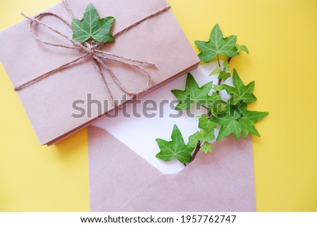 Green ivy leaves with blank greeting card on white yellow background. Botanical concept background. Summer greeting. アイビーの葉と手紙セット、初夏の贈り物、夏のメッセージ背景、夏のガーデニング ストックフォト ©