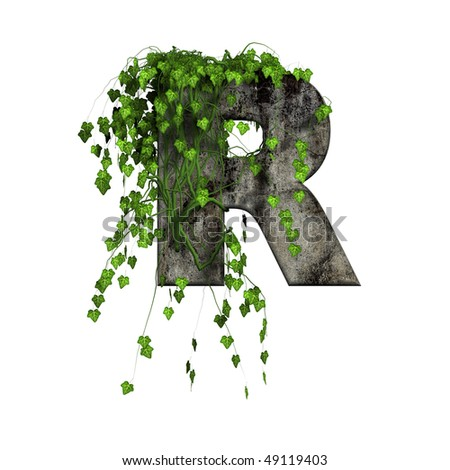 green ivy on 3d stone letter - R