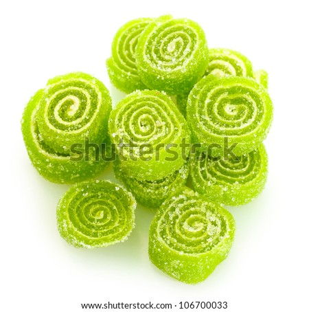 green jelly candies isolated on white