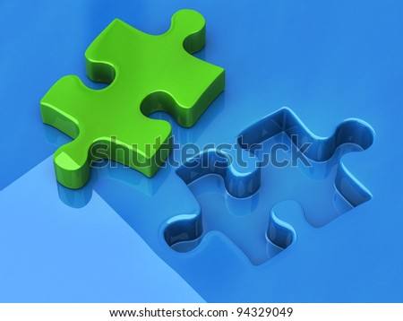Green jigsaw puzzle piece