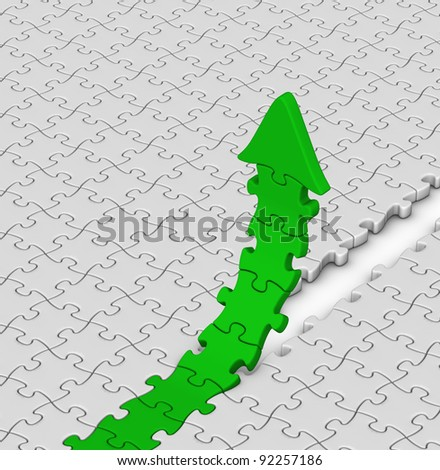 green jigsaw puzzles arrow on gray background