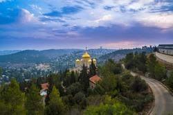 Green Judean hills around Ein Karem neighborhood, biblical birth place of John the Baptist, with Russian Orthodox Church of Gorny or