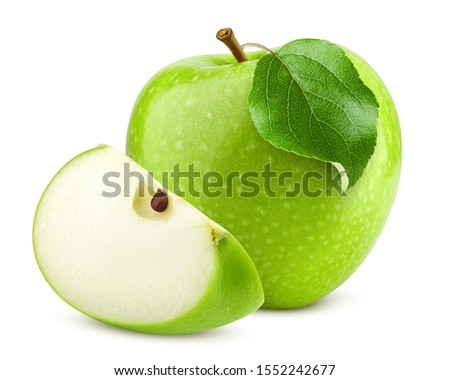Green juicy apple isolated on white background, clipping path, full depth of field Foto stock ©