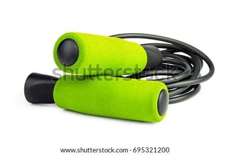 Green jump rope or skipping rope isolated on white background. Sports, fitness, cardio, martial art and boxing accessories. #695321200