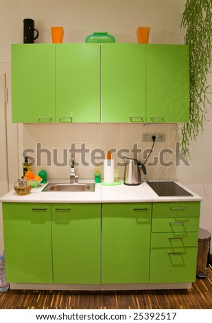 Green Kitchen With Orange And Black Supplements In Retro Style. Stock ...
