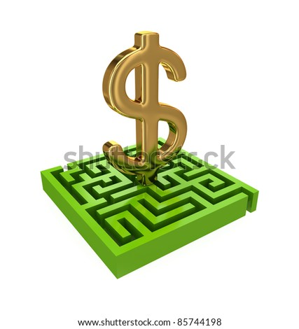 Green labyrinth and golden dollar sign.3d rendered.Isolated on white background.