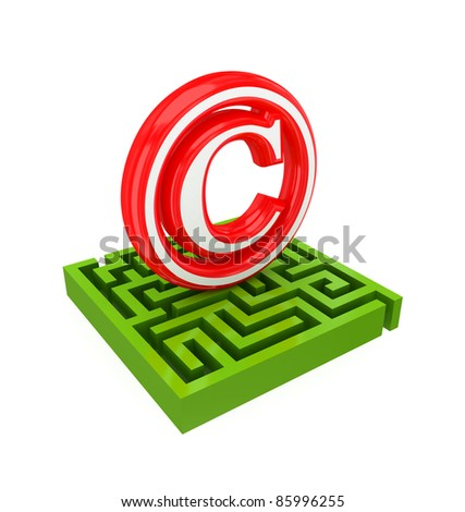 Green labyrinth and red trademark sign.3d rendered.Isolated on white background.