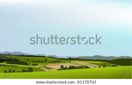 Green landscape with mountains - stock photo