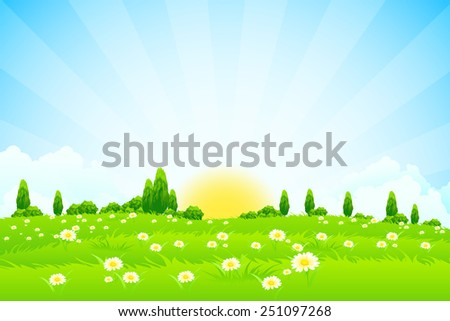 Green Landscape with trees clouds flowers and Sun #251097268