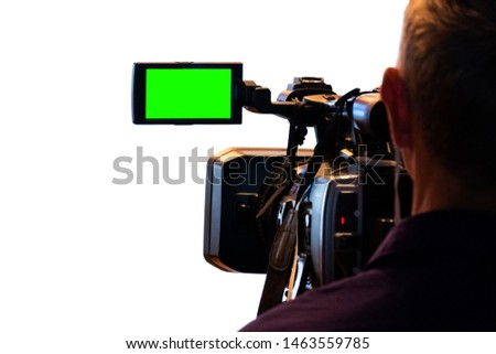Green LCD display on high definition television camera. Videographer at work removes the story for the news. Template template for the design of information about the TV. Isolated on white background. #1463559785