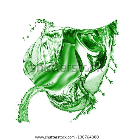 Green Leaf made of water splash isolated on a white background