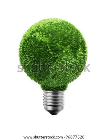 Green leafs earth on top of a light bulb