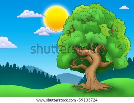 Green leafy tree in landscape - color illustration.