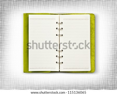 Green leather cover of diary