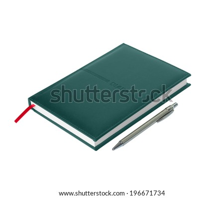 Green leather diary with pen on white background
