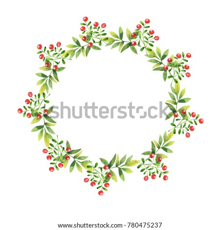 Green leaves and berry branches garland isolated on white background. Hand drawn watercolor illustration.