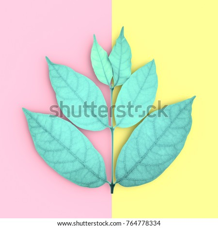 green leaves and copy space on pink and yellow background, top view. concept pastel color,3D render.