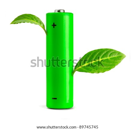 Green leaves growing from the battery.  Eco concept