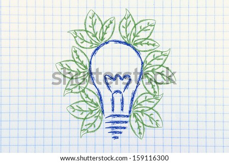 green leaves growing inside lightbulb, symbol of new ideas for the green economy and reneweable energy