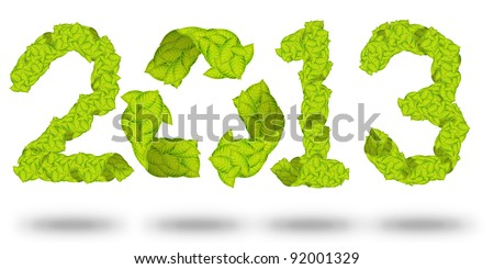 green leaves Recycle Logo making a Pattern letter 2013