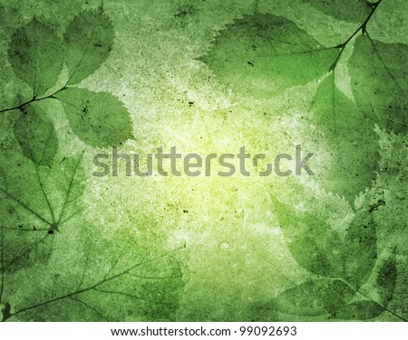 green leaves with vintage background