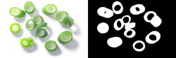 Green leek cut into rings isolated w clipping paths, top view