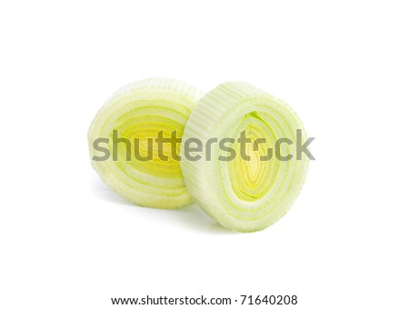 Green leek isolated on white