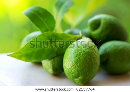Green lemons group. - Shutterstock ID 82139764
