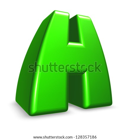 green letter h on white background - 3d illustration