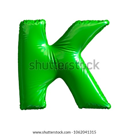 Green letter K made of inflatable balloon isolated on white background. 3d rendering Stock fotó ©