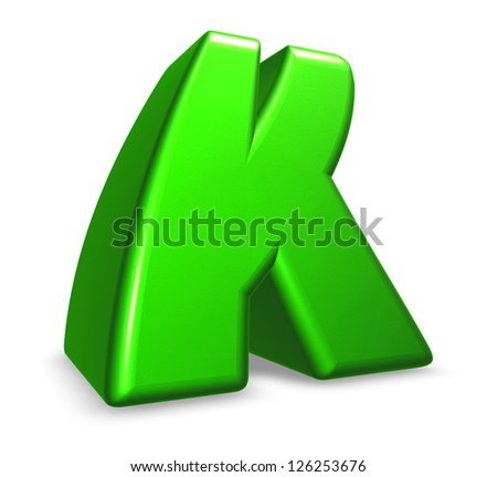 green letter k on white background - 3d illustration