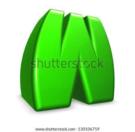 green letter w on white background - 3d illustration