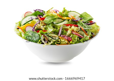 Green lettuce salad with fresh vegetables isolated on white background Stock photo ©