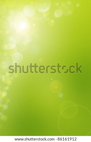 Green light bubbles abstract background
