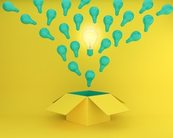 green Light bulbs glowing the different creative idea think outside the box on yellow background , Concept idea about Business for innovation and inspiration.