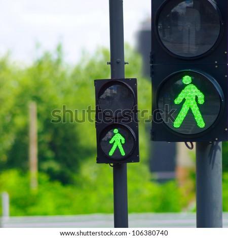 green light for two traffic lights