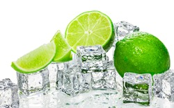 Green lime and ice cubes background.