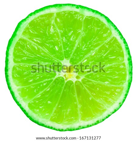 Green Lime Fruit Slice Closeup On White Background #167131277