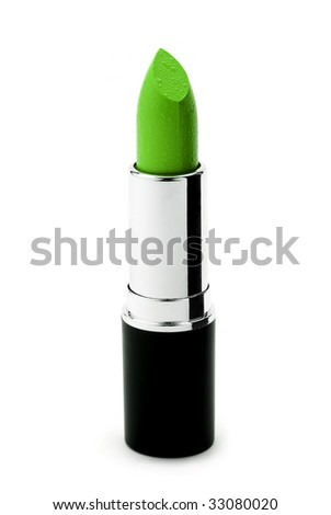 Green lipstick isolated on white