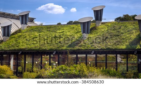 Green \'Living\' Roof On Public City Library. Eco Friendly Building