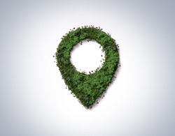 Green location symbol of pin. A green forest shape on location pin concept of green place for tourist or visit. Green Destination. Environment day concept. World Forestry Day.