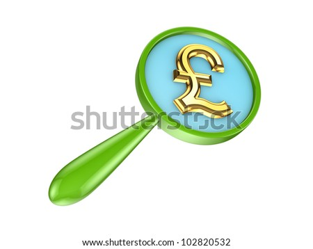 Green loupe and golden pound sterling sign.Isolated on white background.3d rendered.