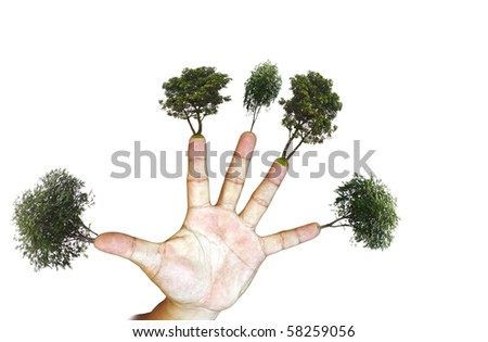 Green luscious trees growing from the finger tip of an open palm isolated against white background symbolizing green finger.