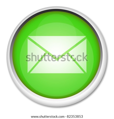 Green mail button isolated on white