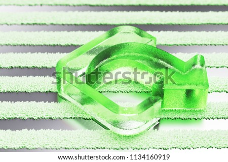 Green Mail Forward Icon on the Silver Stripes Background. 3D Illustration of Green Arrow, Email, Forward, Send, Sending, Sent Icon Set With Striped Pattern.