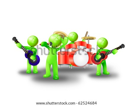 green man Music band plays a song
