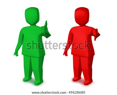 Green man showing thumbs up,and red man showing thumbs down, on white background