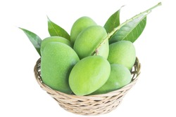 Green mango and leaf in basket weave on white background for sour fruits