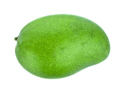 green mango isolate on white background, top view
