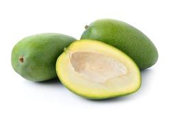 green mango on white background